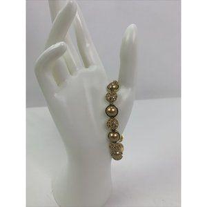 Vintage Monet Gold Tone Rhinestone Signed Bracelet